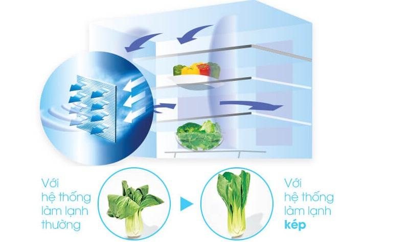 Tủ lạnh Sharp side by side - Hệ thống làm lạnh kép mang hơi lạnh tỏa đều mọi nơi trong tủ, bảo quản thực phẩm tối ưu