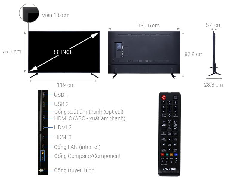 Thông số kỹ thuật Smart Tivi Samsung 4K 58 inch UA58NU7103