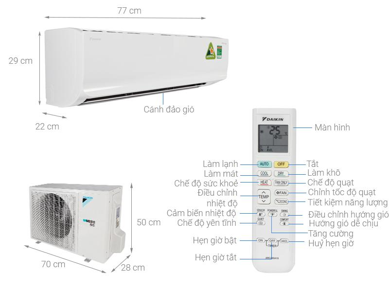 Thông số kỹ thuật Máy lạnh 2 chiều Daikin Inverter 2.0 HP FTHF50RVMV