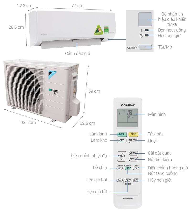 Thông số kỹ thuật Máy lạnh Daikin Inverter 2.5 HP FTKQ60SVMV