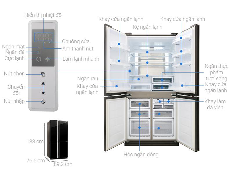 Tủ lạnh Sharp SJ-FX688VG-BK 4 cánh Inverter 605 lít