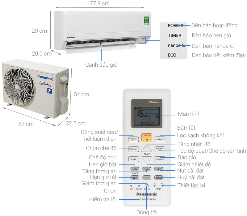 Thông số kỹ thuật Máy lạnh Panasonic Inverter 1.5 HP CU/CS-PU12WKH-8M