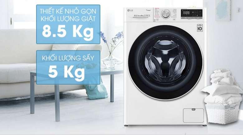 Máy giặt sấy LG Inverter 8.5 kg FV1408G4W | Khối lượng giặt