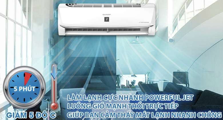 Powerful Jet - Máy lạnh Sharp Inverter 1 HP AH-XP10WMW
