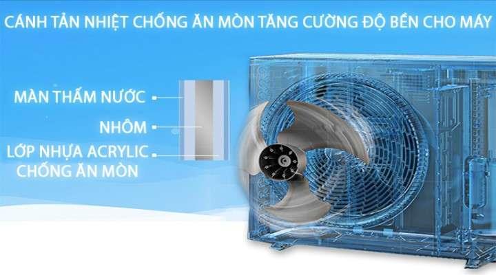 Độ bền cao với cánh tản nhiệt dàn nóng được phủ 2 lớp chống ăn mòn, bo mạch có chức năng bảo vệ điện áp cao & thấp