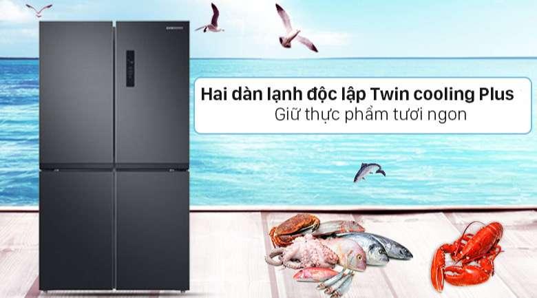 Tủ lạnh Samsung Inverter 488 lít RF48A4000B4/SV - 2 dàn lạnh hoạt động độc lập Twin cooling Plus