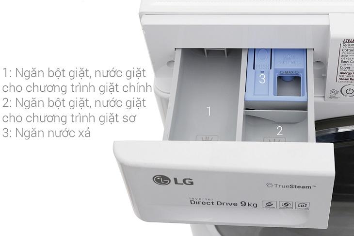 Thiết kế khay chứa bột giặt thông minh, chia làm 3 phần